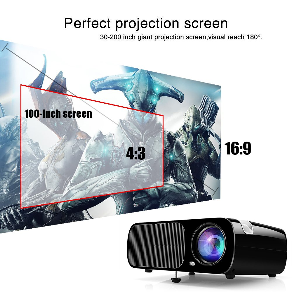 dda3a69506d80e Ogima Bl20 Video Projector, 2600 Lumens Home Cinema Theater LCD TFT Display  1080P HD 3D