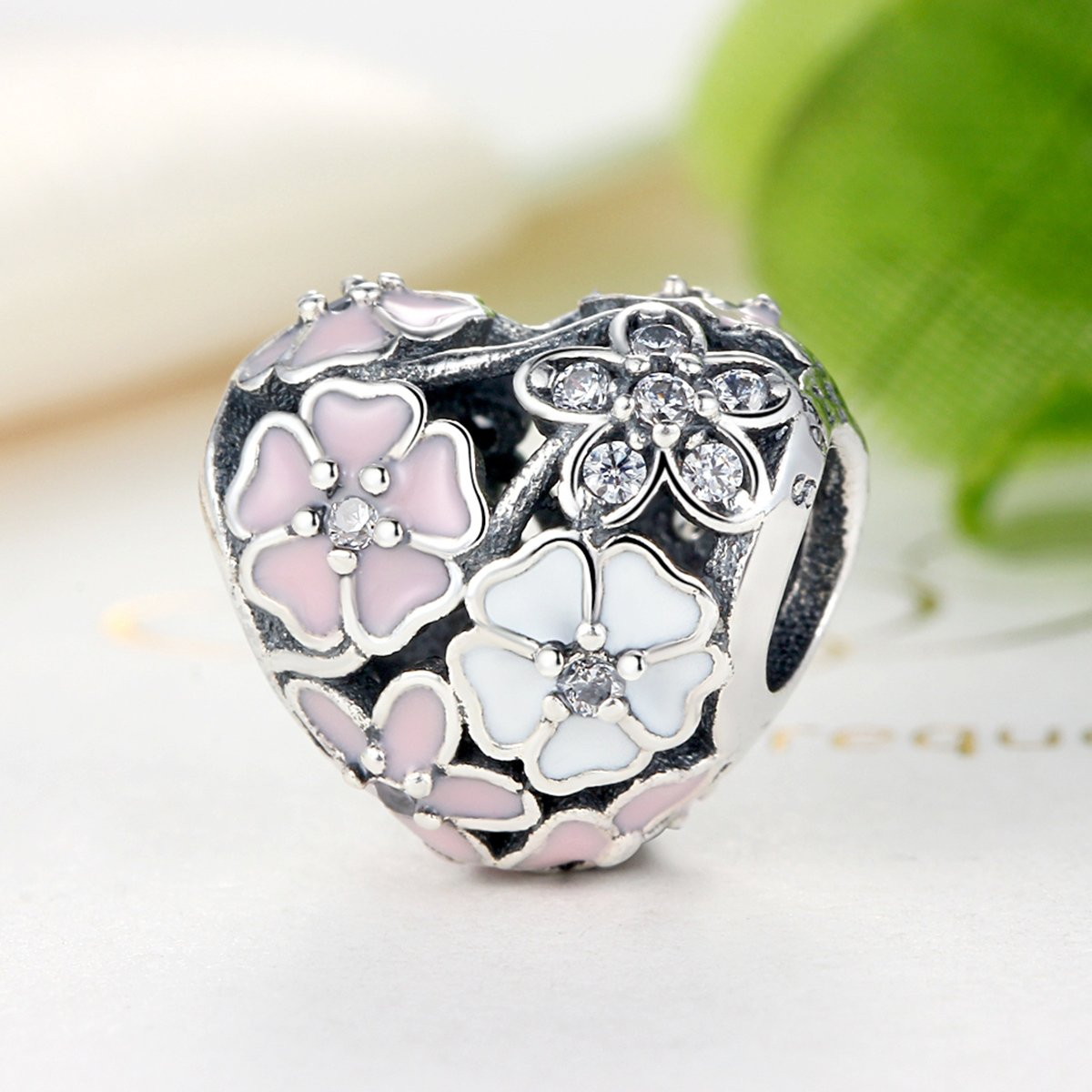 BAMOER 925 Sterling Silver Poetic Daisy Flower Heart Enameled CZ Solid Charms Beads for DIY Bracelet Accessories by BAMOER (Image #3)