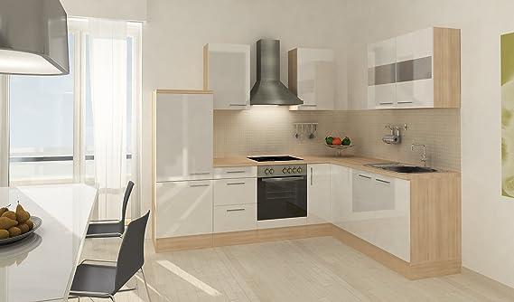 respekta Premium L ángulo de Forma de Cocina Acacia Blanco 260 x 200 cm vitrocerámica recirculación: Amazon.es: Hogar