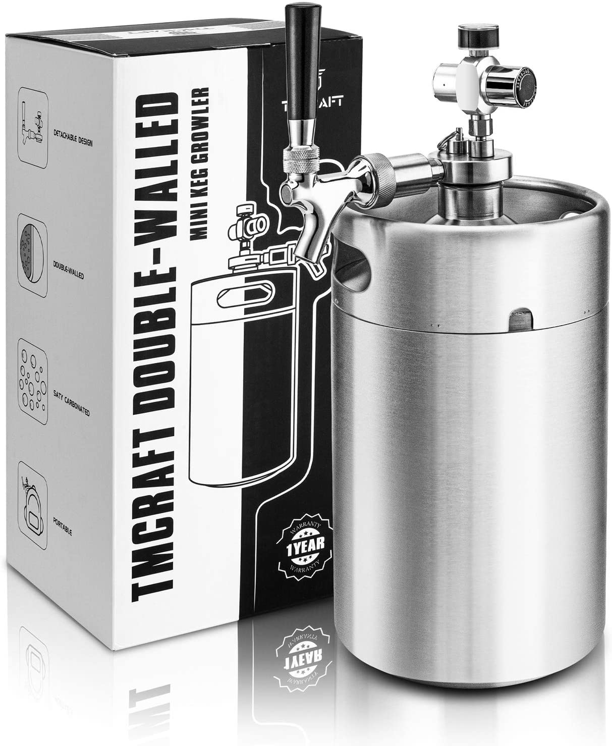 TMCRAFT 128OZ Double-Walled Mini Keg Growler, Pressurized Home Beer Dispenser System with Detachable Faucet and Regulator Keep Fresh and Carbonation for Craft Beer Draft/Homebrew
