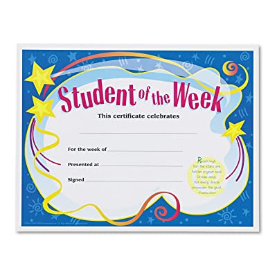 Trend T2960 Student of the Week Certificates, 8-1/2 x 11, White Border, 30/Pack (TEPT2960): Toys & Games