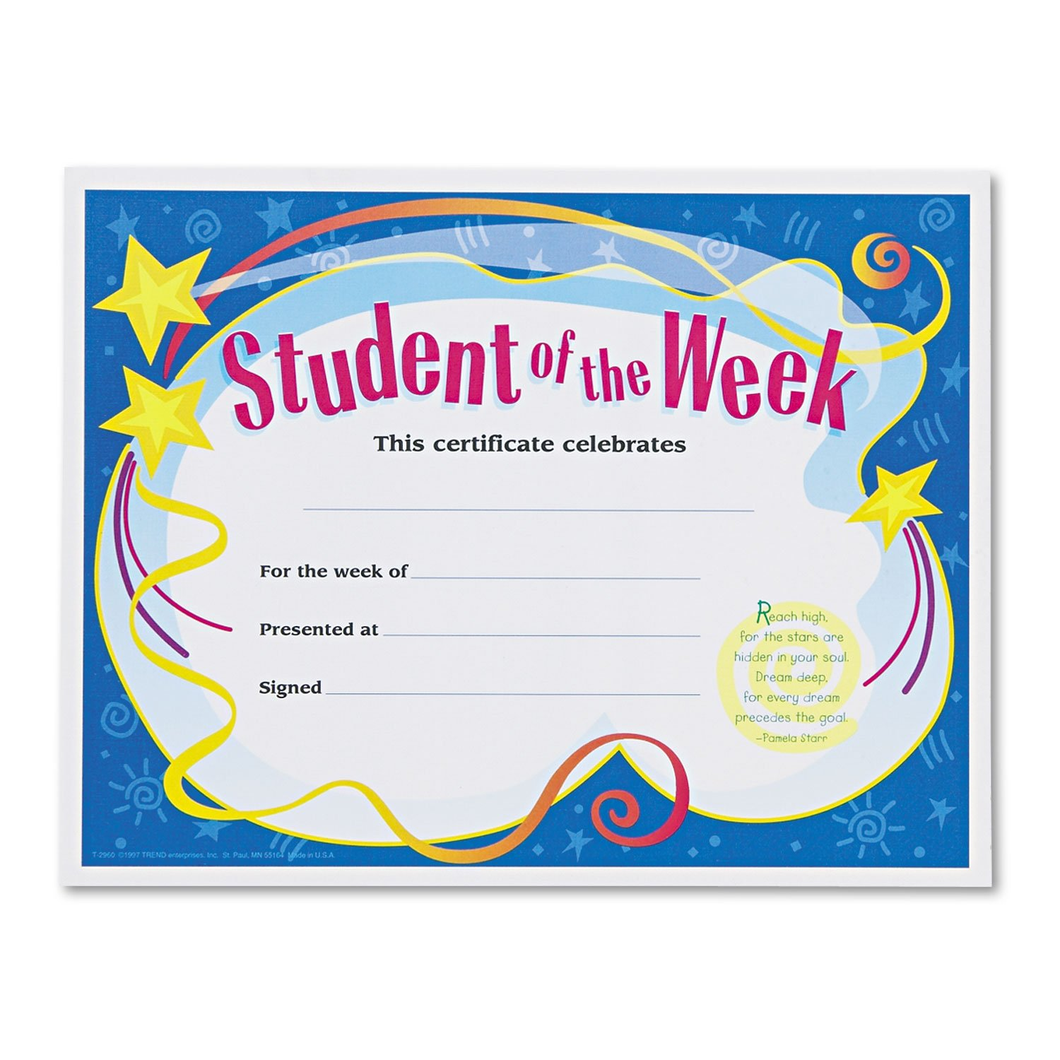 Amazon trend t2960 student of the week certificates 8 12 x amazon trend t2960 student of the week certificates 8 12 x 11 white border 30pack tept2960 toys games xflitez Choice Image