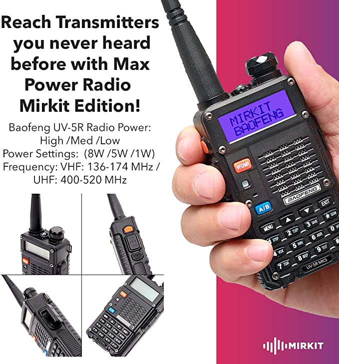 Handheld Speaker Mic Extra Pack Mirkit BaofengRadio UV-5R MK5 8 Watt MP Max Power with 3800 mAh Extended Kit Baofeng Programming Cable and Software