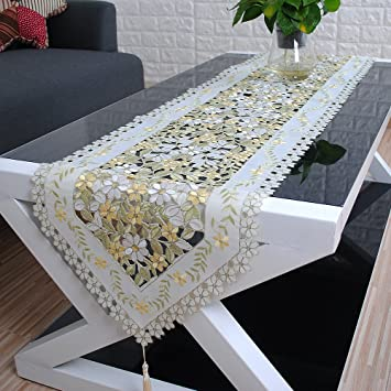 Yazi Beige Yellow Embroidered Floral Elegant Table Runner And Scarves  16inch By 98inch