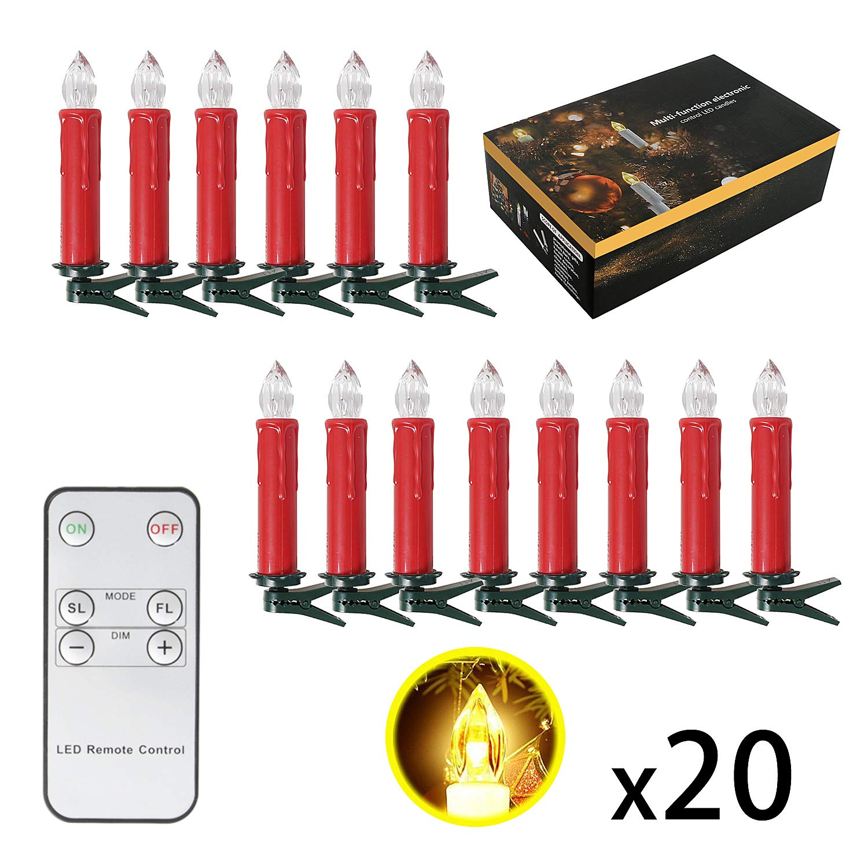 10/20/30/40ER Natale candele LED catena luci candele weihnachtsbaum candele con telecomando senza fili, Beige, 10er [Classe di efficienza energetica A+++] SunJas