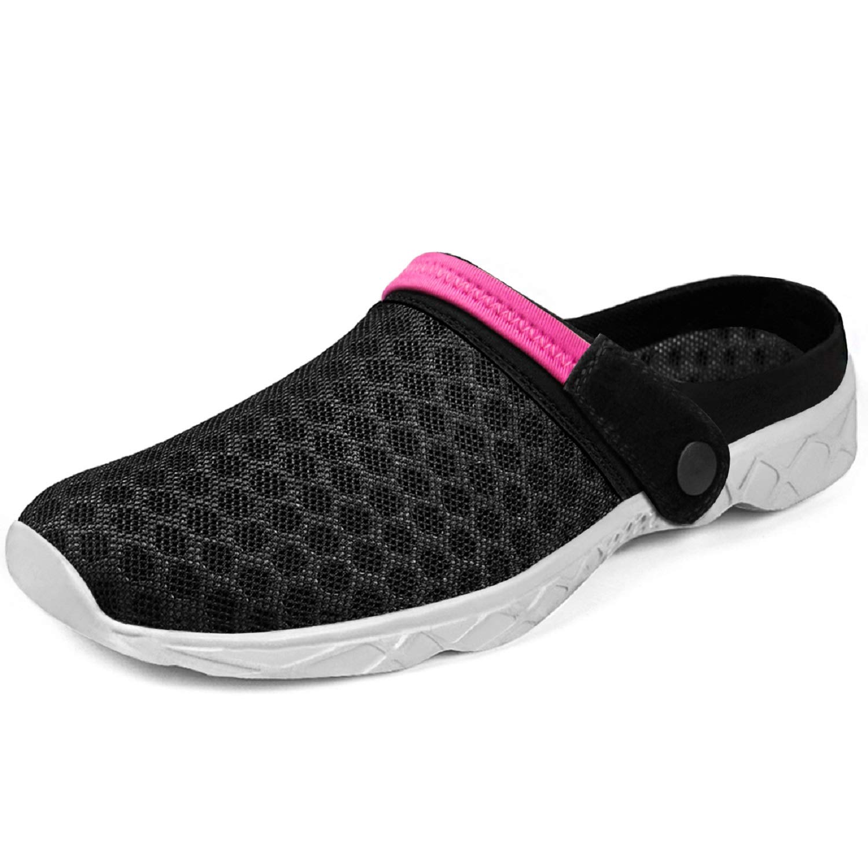 Feetmat Womens Clog Slippers Breathable Lightweight Outdoor Summers Garden Shoes Women Girl (7.5 B(M) US, Black/Red)