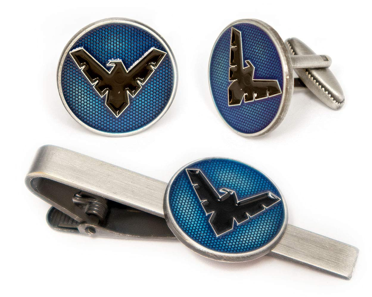 SharedImagination Nightwing Tie Clip, Justice League Logo Cufflinks, DC Comics Batman vs Superman Tie Tack Jewelry, Teen Titans Robin Cuff Links Link Wedding Party Gift, Avengers Groomsmen Gifts by SharedImagination