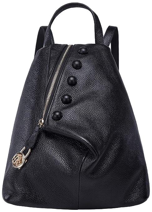 4264bef0df BOYATU Zaini in vera pelle per donna Borsa da viaggio donna moda Satchel  (Nero-