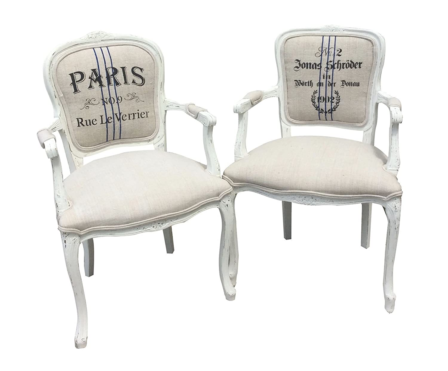 Grain sack stenciled Louis arm chair by Lilly + Co.