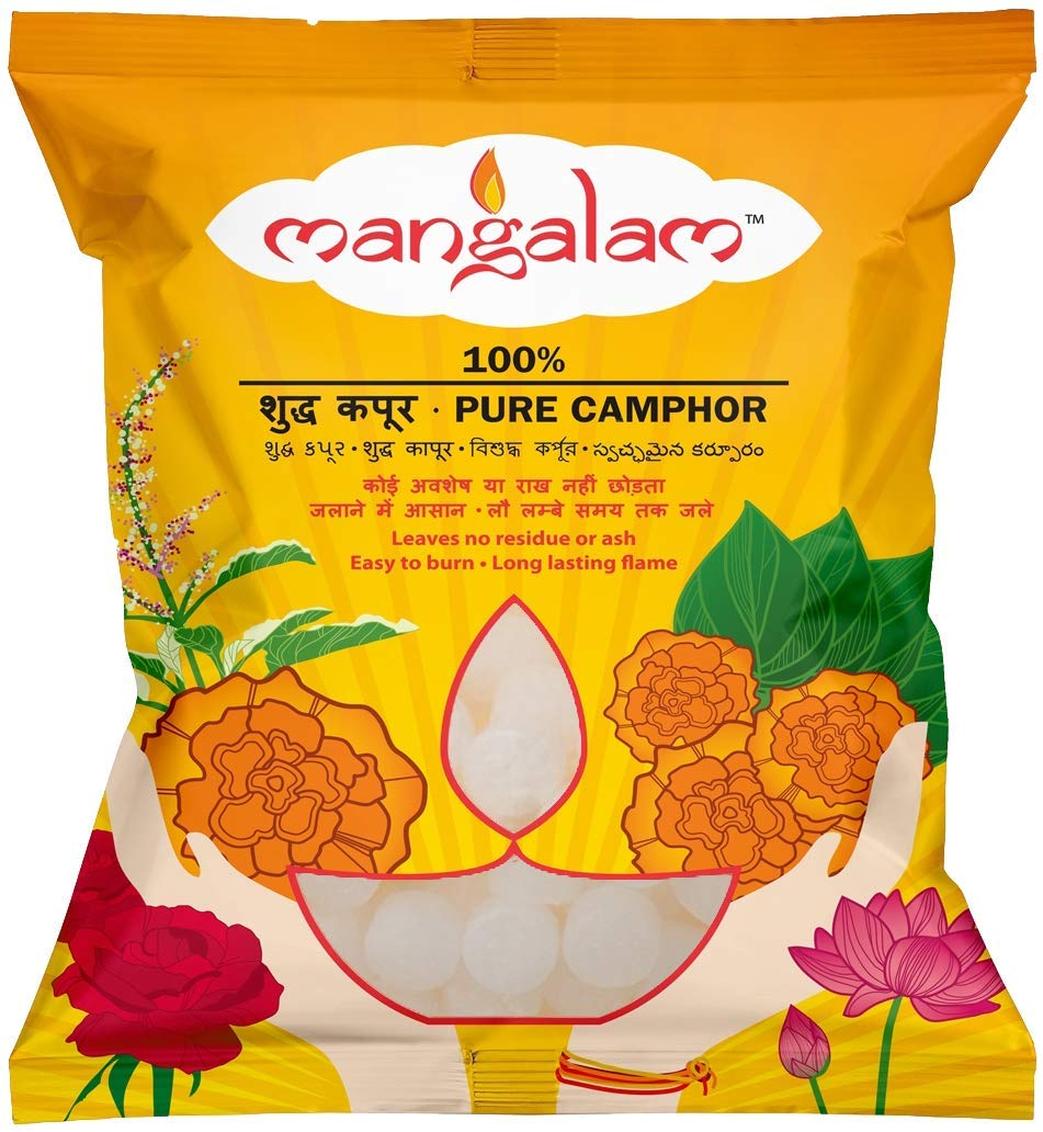 Mangalam Camphor Pouch (500g Big Round, Pack of 1)