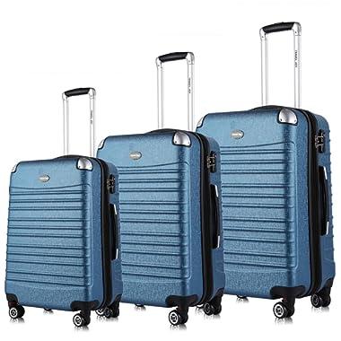 Expandable Luggage Set, TSA Lightweight Spinner Luggage Sets, Carry On Luggage 3 Piece Set(Blue, 3 pcs set(20 24 28 ))