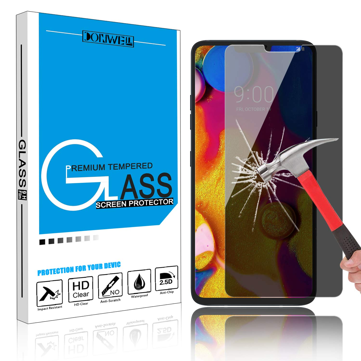 DONWELL LG V40 / LG V40 ThinQ Privacy Screen Protector Tempered Glass Anti Spy 9H Hardness Screen Protector for LG V40 2018 (1 Pack)