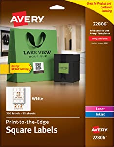 "Avery Square Labels for Laser & Inkjet Printers, Print-to-the-Edge, 2"" x 2"", 300 Labels (22806), White"