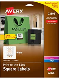 "Avery Square Labels for Laser & Inkjet Printers, Print-to-The-Edge, 2"" x 2"", 300 Labels (22806)"