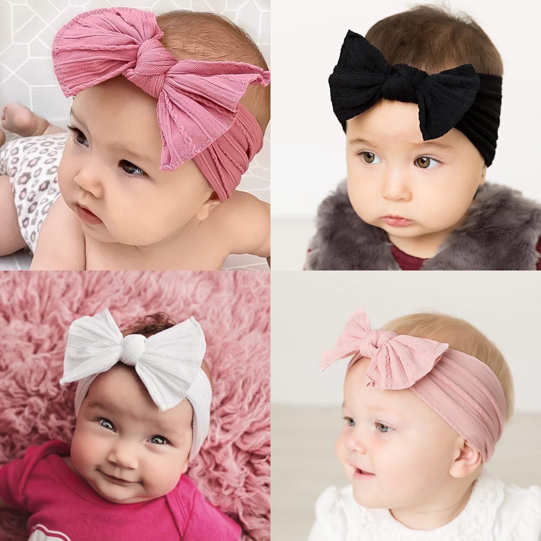 Stretchy Gestricktes Haarband Mit B/ögen Pom Pom Bun 5,5 Zoll Gro/ße Haarschleife Stirnband F/ür S/äuglingsbabys Makone Baby Stirnband