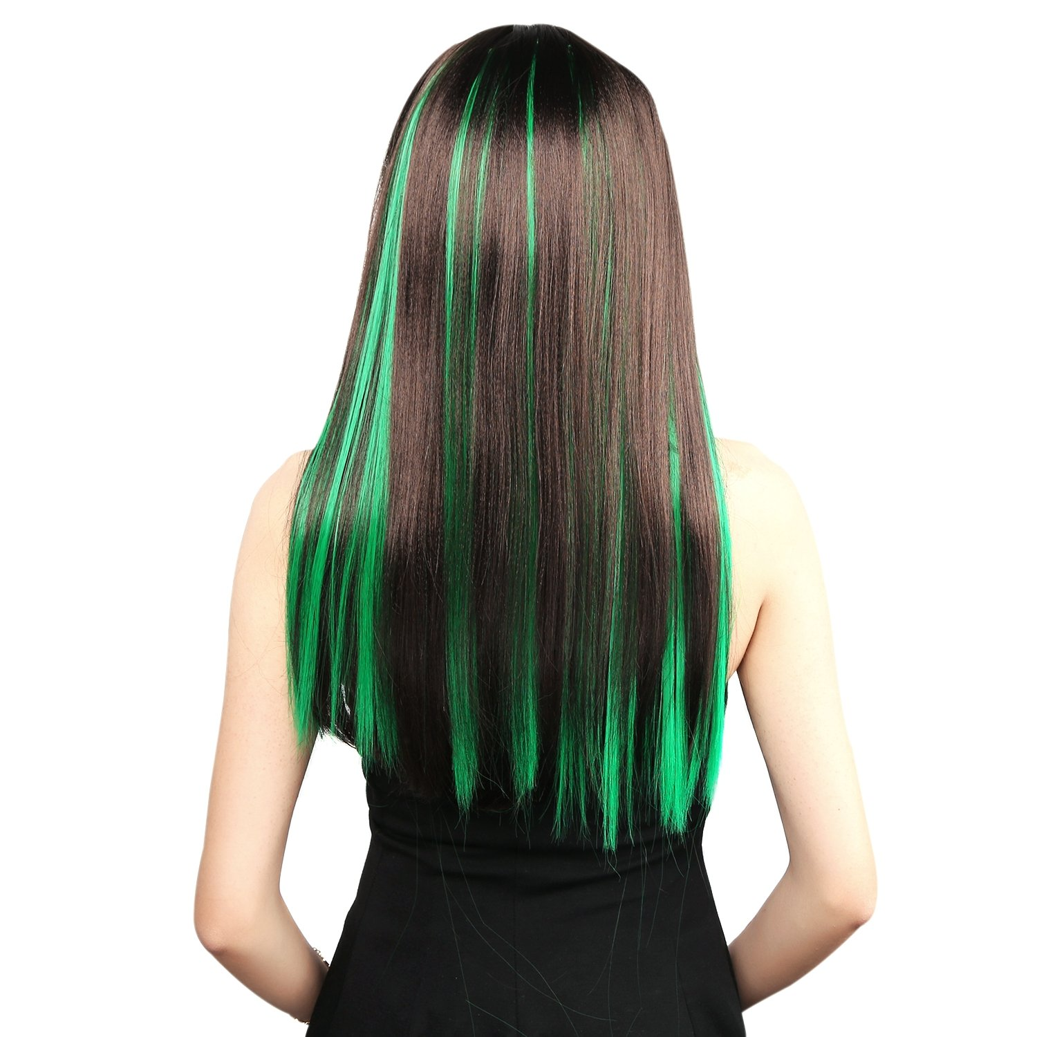 Neitsi 10pcs 18inch Colored Highlight Synthetic Clip on in Hair Extensions #F13 Green by Neitsi