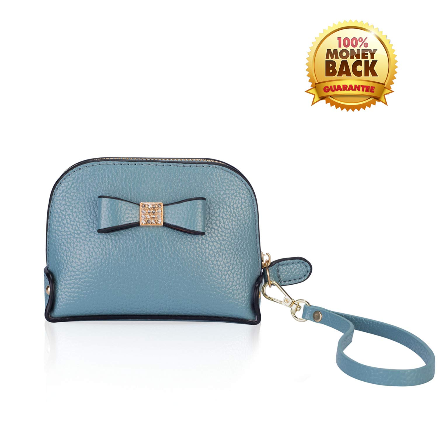 Coin Purse Wallet leather Wristlet Handbags with Wrist Strap Cute Mini Designer Pouch Great Gifts for Women Girls (Bow Blue) by JZE (Image #1)