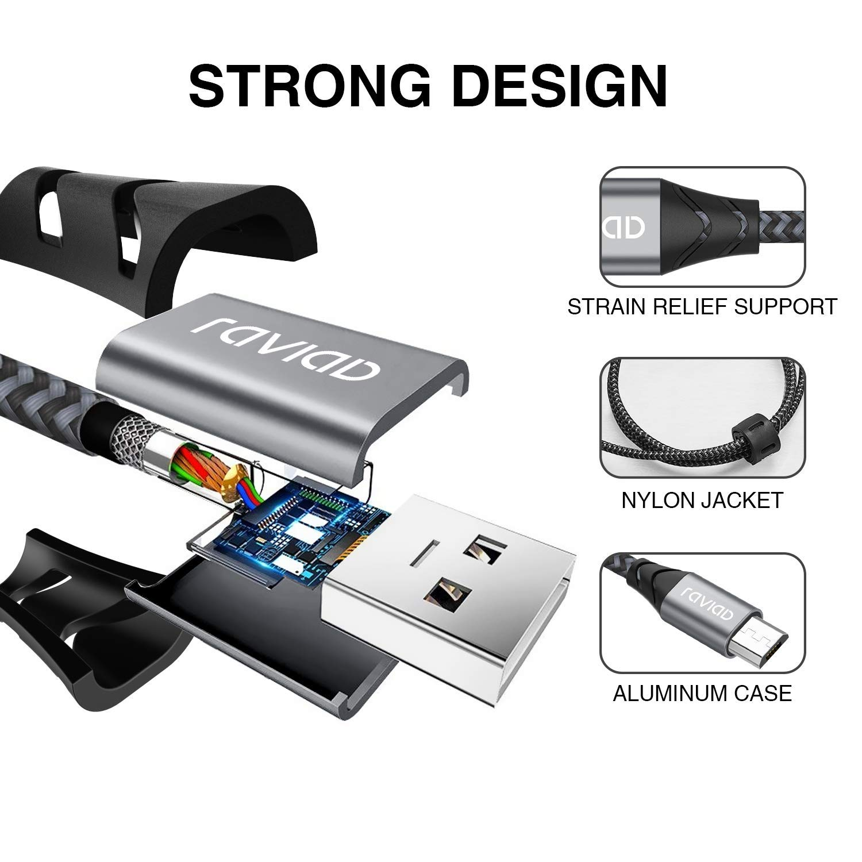 Cargador Micro USB de Nylon Trenzado Sincro y Carga R/ápida per Android Galaxy S7// S6// J5// J6// J7 3Pack 1m 2m 2m Redmi Note 5//6 RAVIAD Cable Micro USB, Huawei,Sony,Kindle,Nexus,Motorola