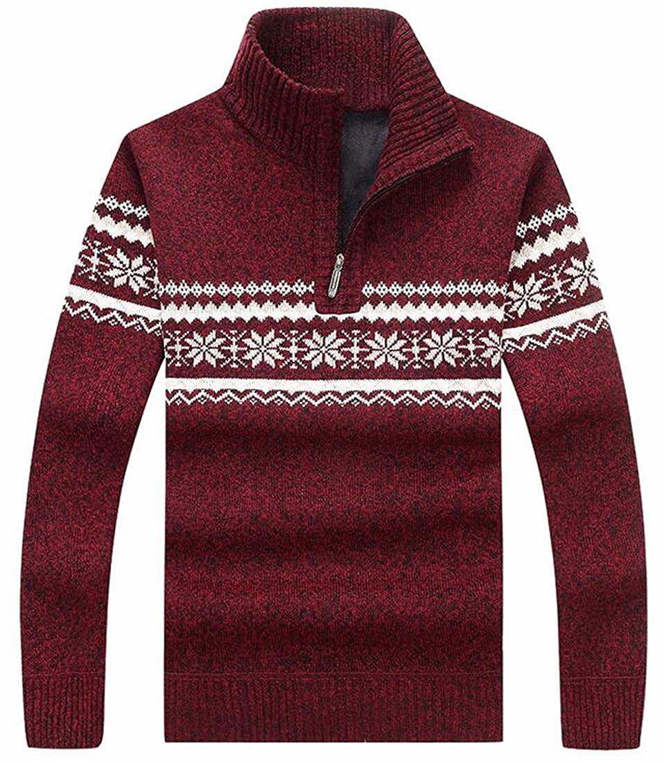 ZXFHZS Men Turtle Neck Half Zipper Front Long Sleeves Knitted Sweater