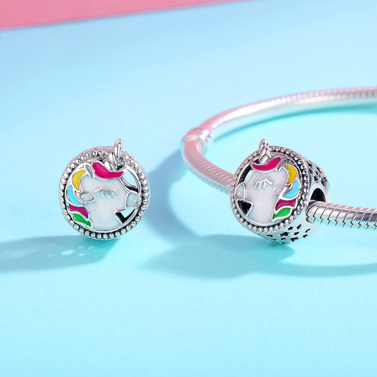 BAMOER 925 Sterling Silver Unicorn Charm Bead Enamel Charm Fit Bracelet Necklace Perfect Jewelry For Women Girls by BAMOER (Image #5)