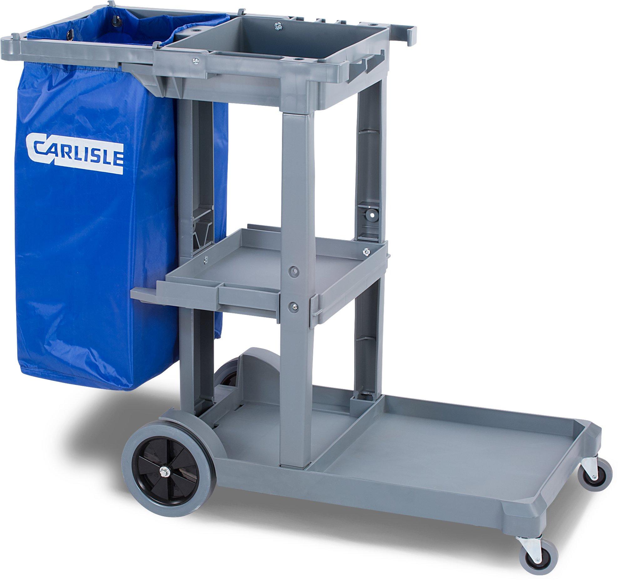 Carlisle JC1945S23 Polyethylene Short Platform Janitorial Cart, 300 lbs Capacity, 45'' Length x 19'' Width 39'' Height, Gray