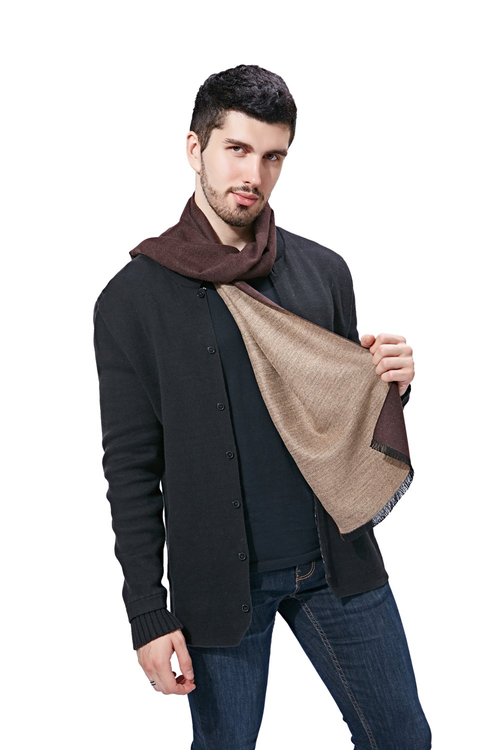 FULLRON Men Winter Scarf Cashmere & cotton blended Scarves(Camel, Coffee)