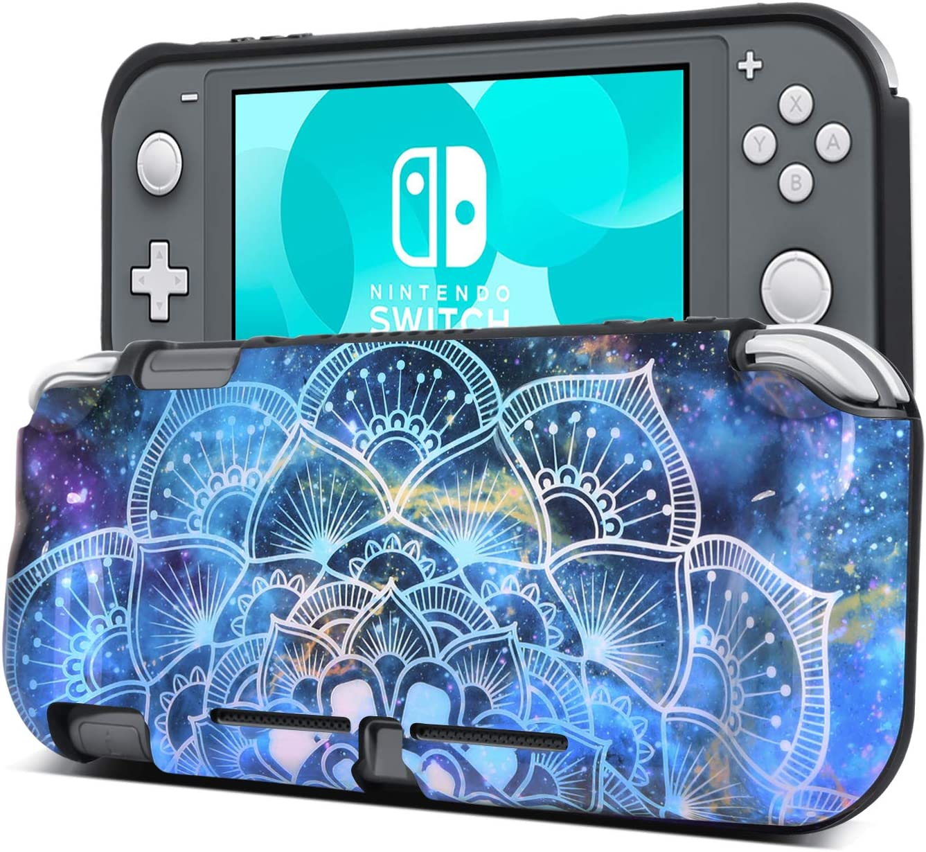 BENTOBEN Compatible with Nintendo Switch Lite Case, Slim Fit Soft Flexible TPU Bumper Protective Shockproof Anti Scratch Non-Slip Cute Cases Cover for Nintendo Switch Lite (2019), Mandala in Galaxy