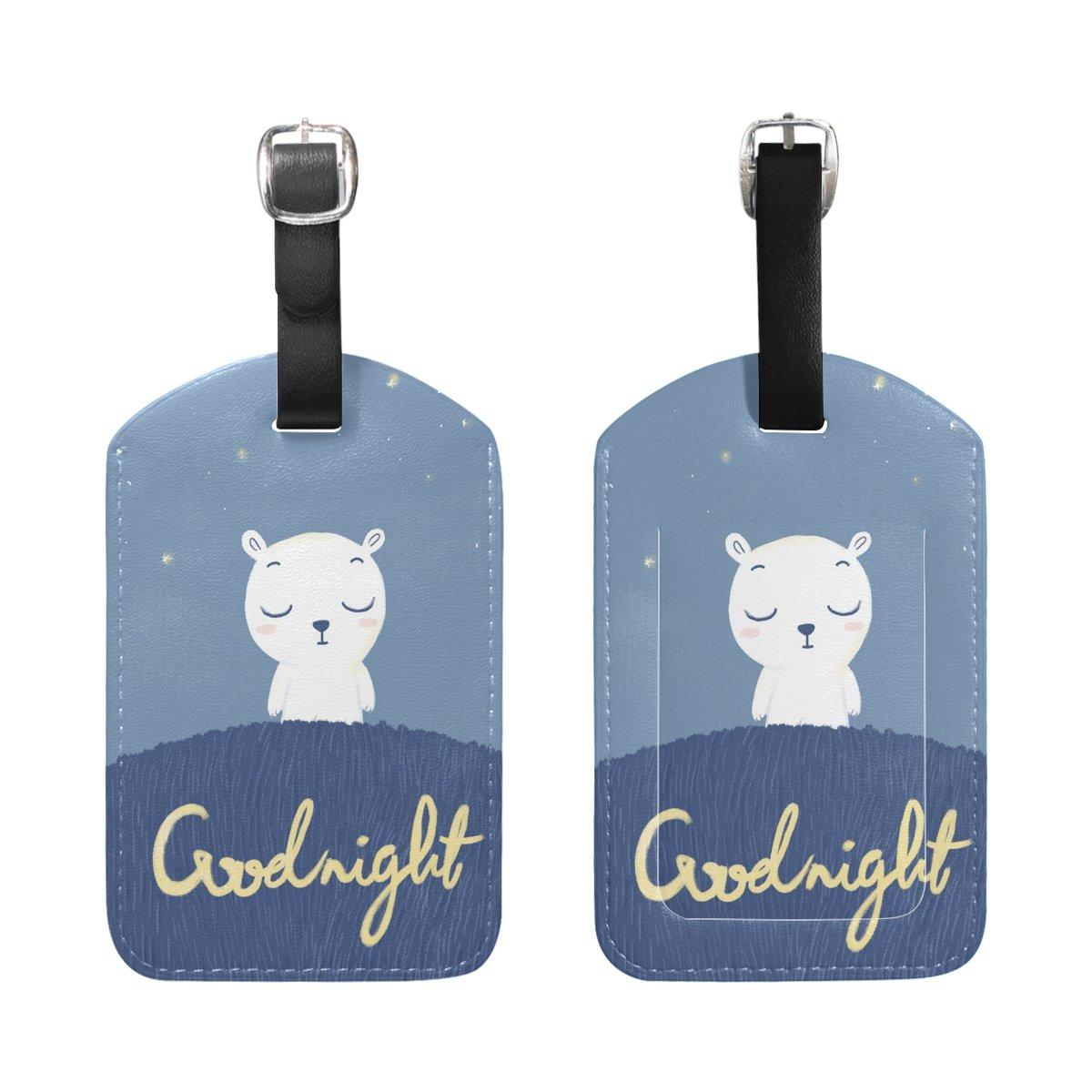 Saobao Travel Luggage Tag Good Night Bear PU Leather Baggage Suitcase Travel ID Bag Tag 1Pcs