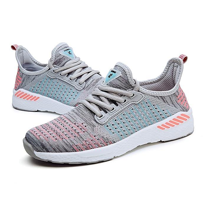8ab3b6a0abbc Qianliuk Damen Running Schuhe Sommer Outdoor Sport Sportlich Sneakers  Frauen Walking Mesh Flywire Lace up Shoe Flats  Amazon.de  Schuhe    Handtaschen