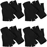 4 Pairs Winter Half Finger Gloves Knitted Fingerless Mittens Warm Stretchy Gloves for Men and Women