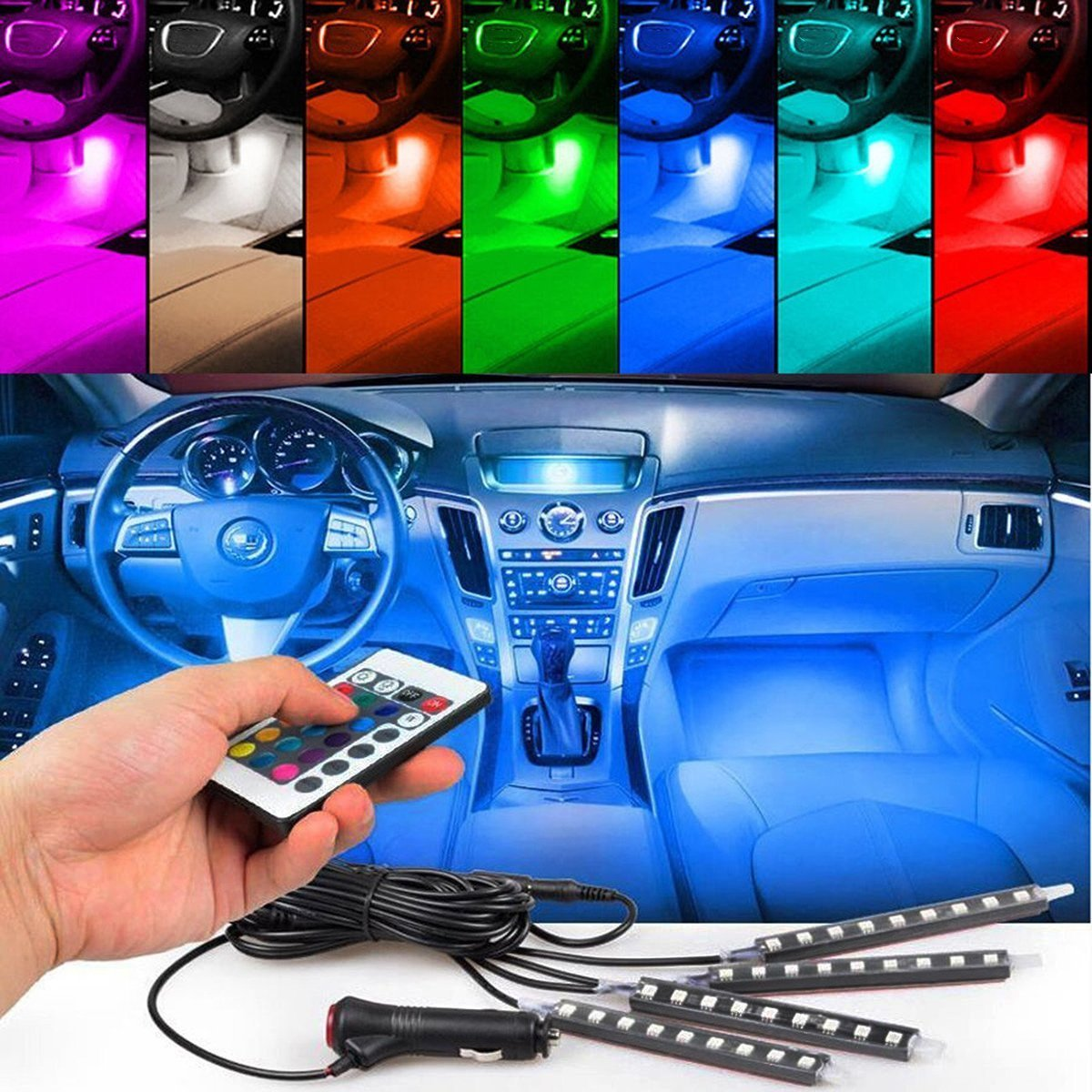 4pcs Car Interior Decoration NERLMIAY Atmosphere Light-LED Car Interior Lighting Kit with 7 Color Waterproof Interior Atmosphere Neon Lights Strip for Car