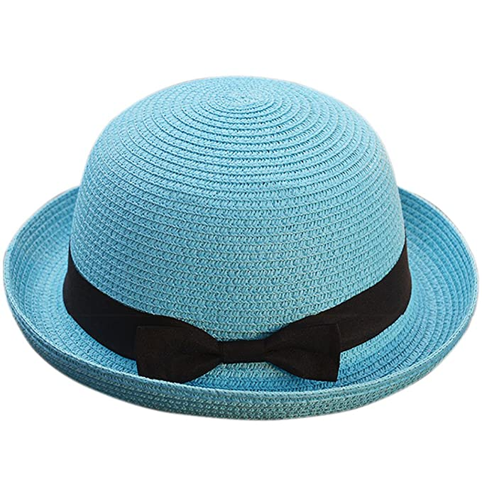 1dca64d2856b2 Andy Esther Hand-Weaved Straw Bowler Hat Short Brim Beach Sun Hat for Men  and Women