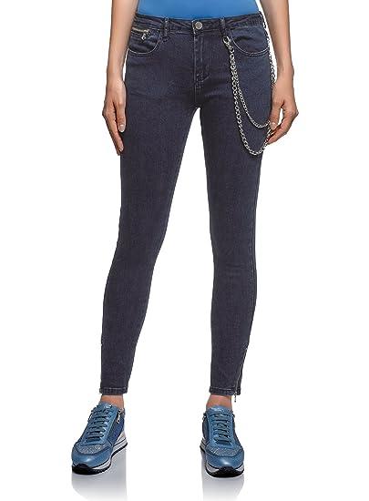 oodji Ultra Femme Jean Skinny avec Zips en Bas  Amazon.fr  Vêtements ... 0d06329d8019