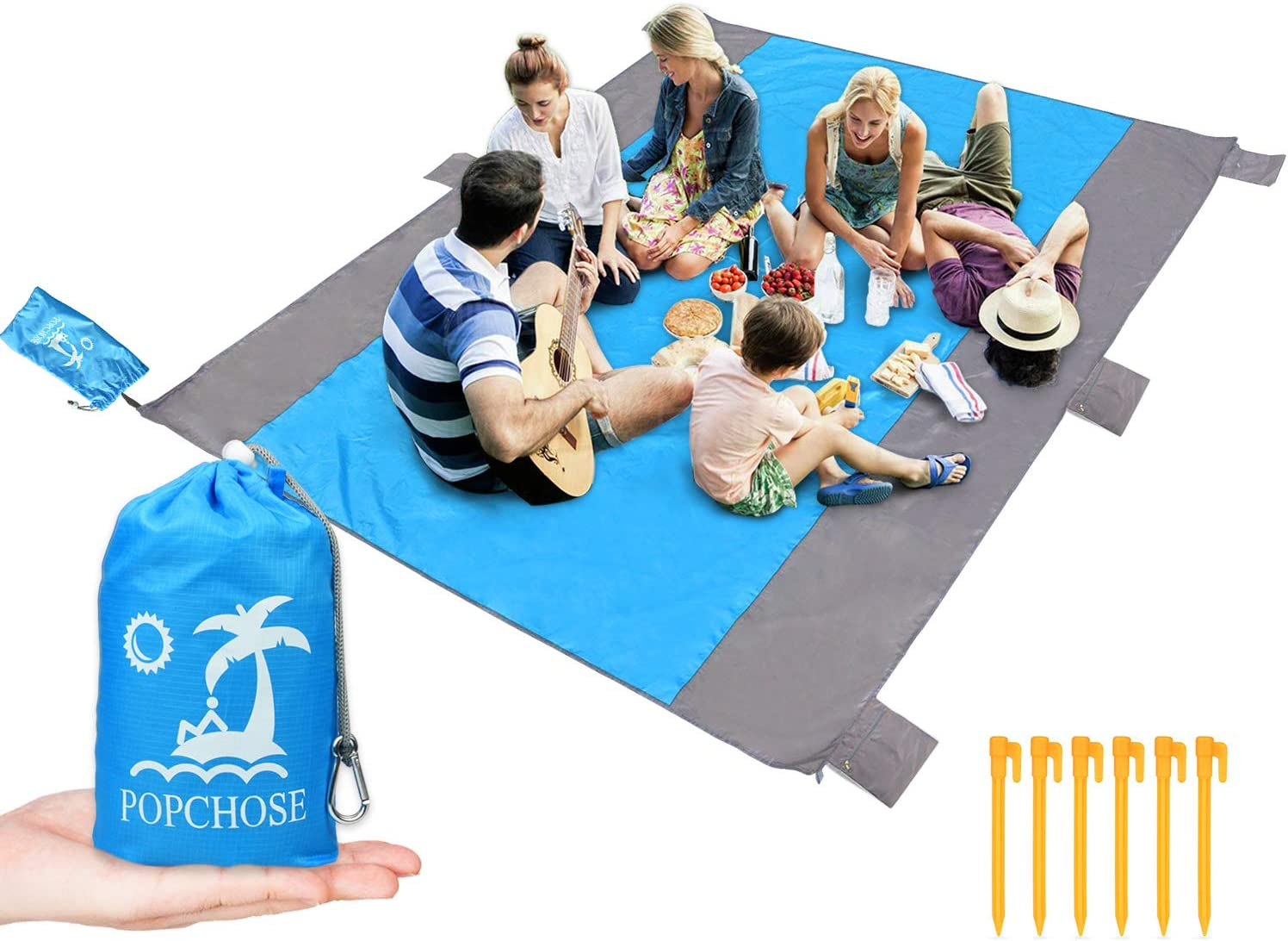 POPCHOSE Sandfree Beach Blanket, Large Sandproof Beach Mat for 4-7 Adults, Waterproof Pocket Picnic Blanket with 6 Stakes, Outdoor Blanket for Travel, Camping, Hiking