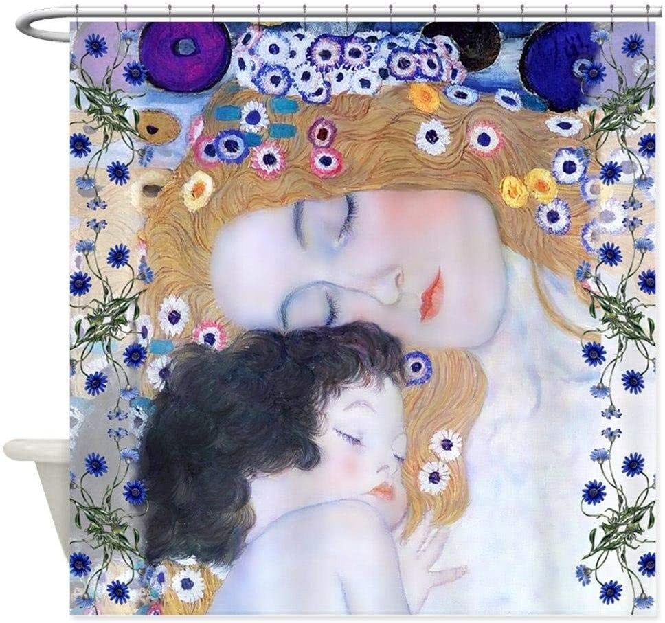 kuanmais Cortina de Ducha Gustav Klimt Cortina de Ducha para Madre e Hijo Moho Cortina de ba/ño Extra Larga Impermeable para ba/ño con 12 Ganchos 180x200cm