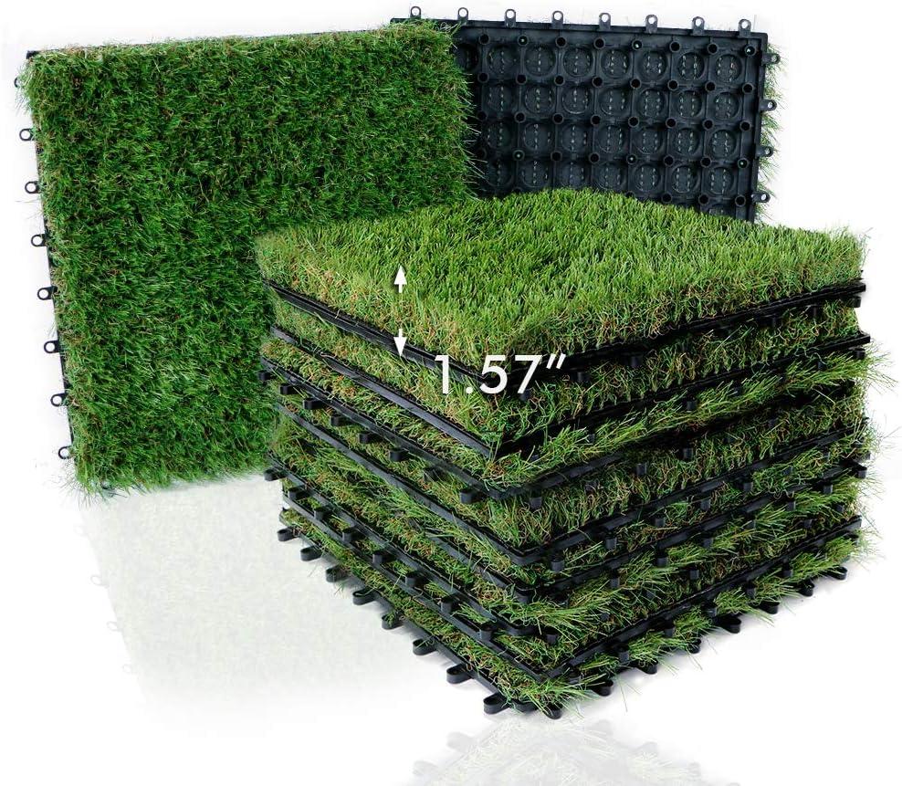 "XLX TURF Artificial Grass Tiles Interlocking Turf Deck Set 9 Pack - 12""x12"" Synthetic Fake Grass Self-draining Mat Patch Flooring Decor Pad Indoor/Outdoor"