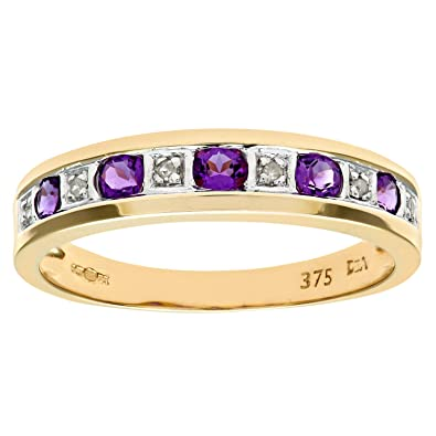 Naava 9ct Yellow Gold Diamond and Amethyst 7 Stone Eternity Ladies Ring ypJPMVhyi1