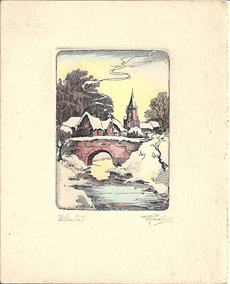 Poster printed christmas card hall family records depicting snow poster printed christmas card hall family records depicting snow covered bridge over small river houses m4hsunfo