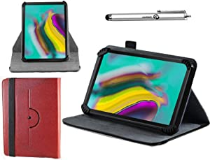 "Navitech Red Leather Case Cover with 360 Rotational Stand and Atlas Stylus Compatible with The 10.1"" Fusion5 104E Tablet 10""