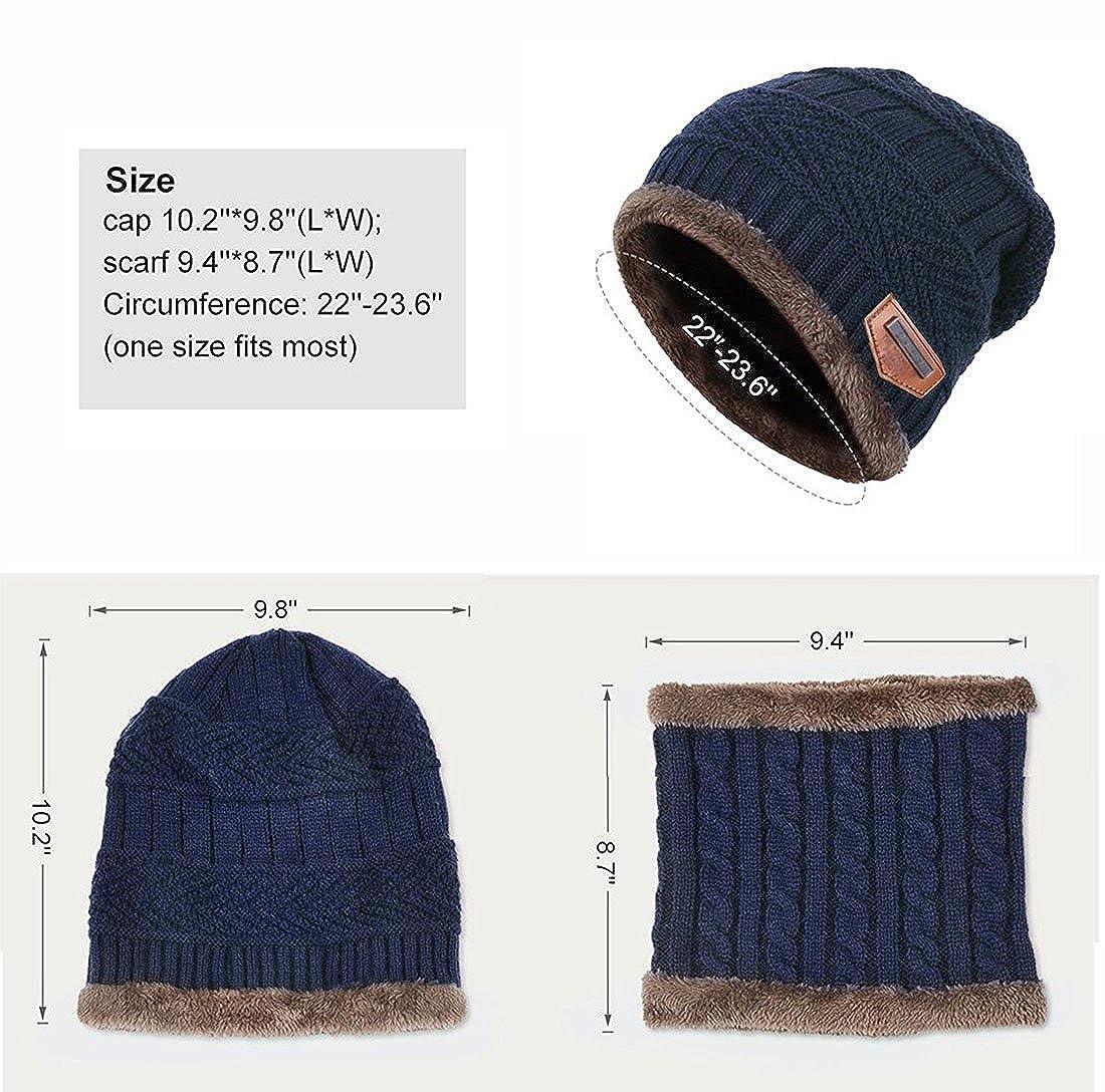72e2388ab273 Goodbuy Chauffant Bonnet Tricot avec Écharpe de Doublure Polaire, Hiver  Chapeau Beanie pour Homme, Bleu, Taille unique  Amazon.fr  Vêtements et  accessoires