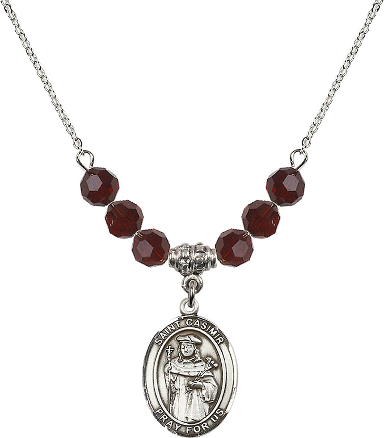 Bonyak Jewelry 18 Inch Rhodium Plated Necklace w// 6mm Red January Birth Month Stone Beads and Saint Casimir of Poland Charm