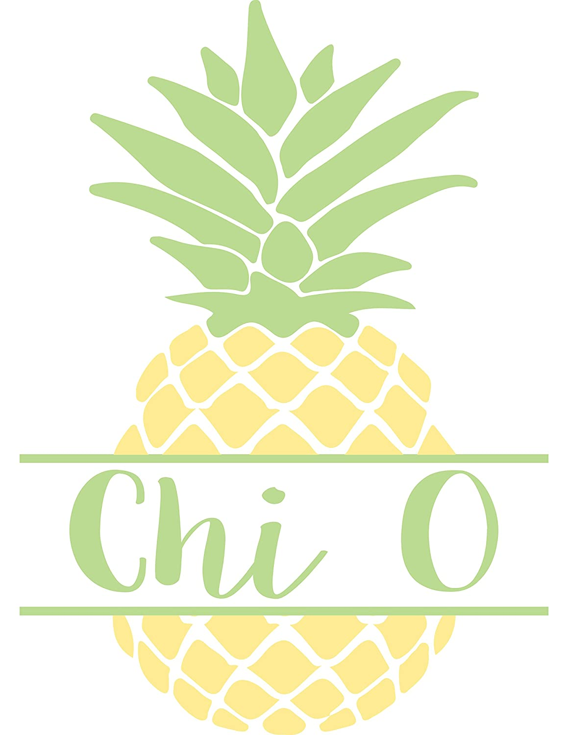 Chi Omega Pineapple Nickname Sticker 4 Inch Tall Sorority Decal Greek for Window Laptop Computer Car chi o
