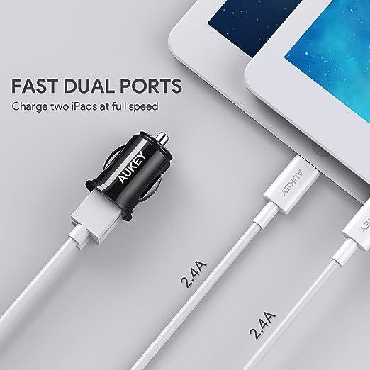 AUKEY Cargador de Coche con Doble Puerto Cargador Móvil 24W / 4,8A con Tecnología AiPower Adaptador de Coche para iPhone XS / Max / X, iPad Air / Pro, ...