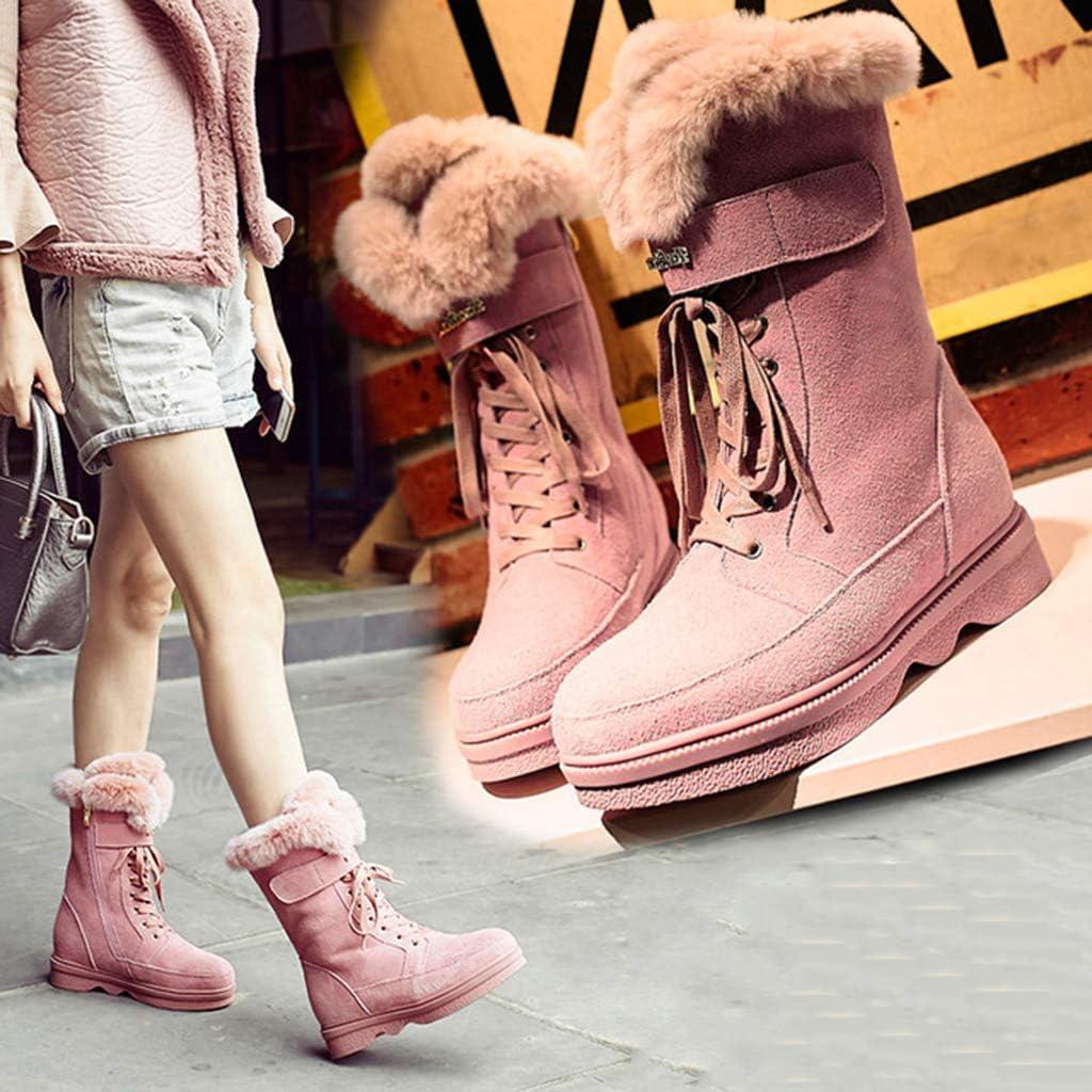 XIALIUXIA Lacets Femmes Chaussures d\'hiver, Grande Taille Antidérapant Chaussures Casual Dames Bottes Chaudes Neige Bottillon Court Noir