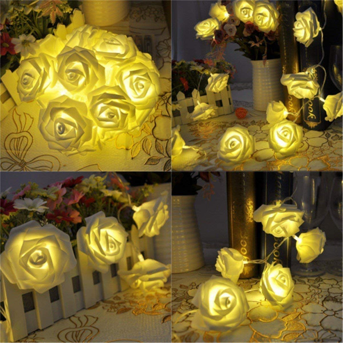 Citra 28 Led String Strip Light Rose Flower Shape Diwali Light for Decoration 28Led- Warm White