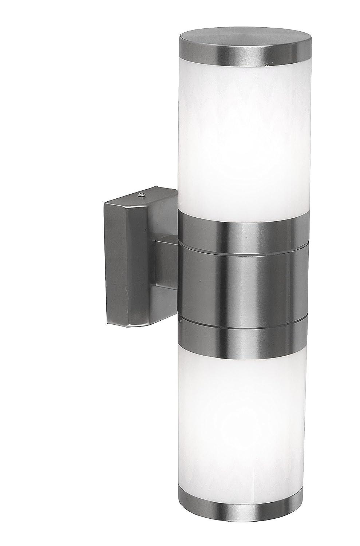 Globo Aussenleuchte Edelstahl,Kunststoff opal, exklusiv 2 x E27 60 W, auf- abwärts, 10.2 x 37 cm, gestreift 32014-2 [Energieklasse A] auf- abwärts GLOBO Handels GmbH