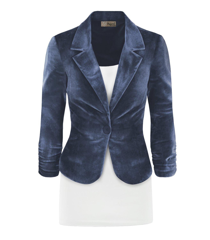 HyBrid & Company Women's Casual Work Office Blazer Jacket JK1131 X 7415 Gun Metal 1X