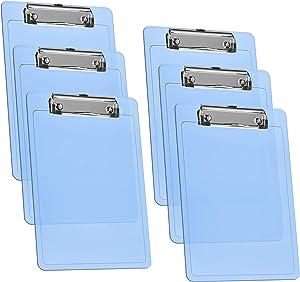 """Acrimet Clipboard Memo Size A5 (9 1/4"""" x 6 5/16"""") Low Profile Clip (Plastic) (Clear Blue Color) (6 Pack)"""