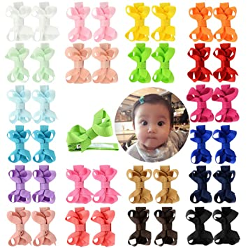 Baby Girls Hair Bows Boutique Alligator Clip Grosgrain Ribbon Hairpins LA