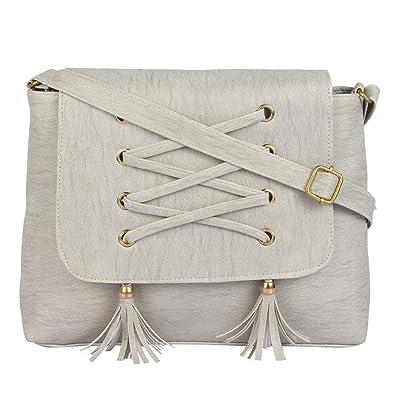99367e329a8 Ankita Fashion World Women s Shoulder, PU Sling Handbag (Grey)  Amazon.in   Shoes   Handbags